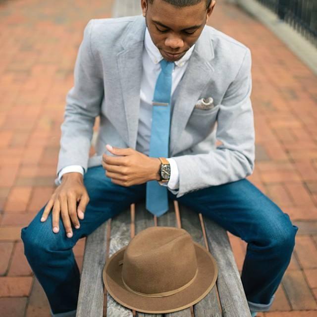 Světle modrá kravata Alfons